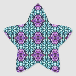 Periwinkle and Turquoise Round Mosaic Pattern Star Sticker