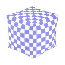 Periwinkle and White Checkered Pouf