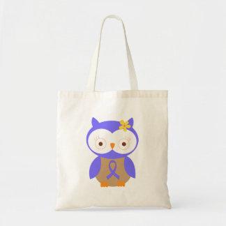 Periwinkle Awareness Ribbon Owl Tote Bag