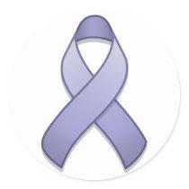 Periwinkle Awareness Ribbon Round Sticker