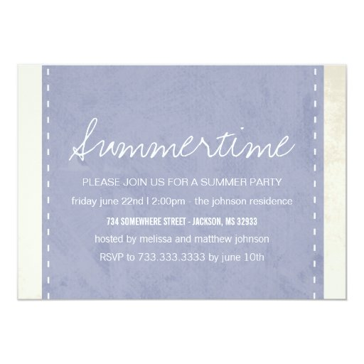 Periwinkle Banner Summer Party Invitations