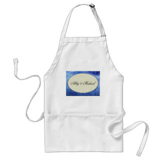 Periwinkle blue and ivory custom design adult apron