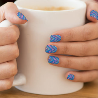 Periwinkle Blue and Pink Chevron Nail Art Stickers