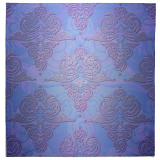 Periwinkle Blue and Purple Victorian Damask Napkin