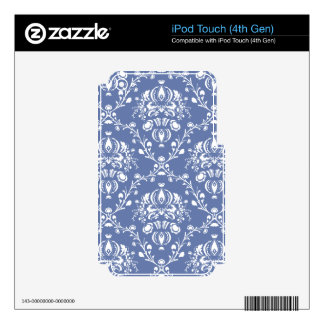 Periwinkle Blue and White Damask iPod Touch 4G Decals