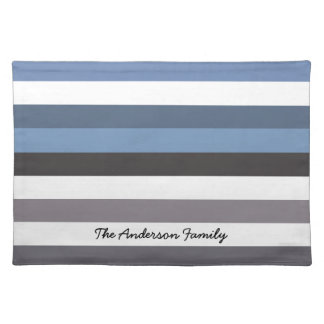 Periwinkle Blue and White Wide Horizontal Stripes Placemats