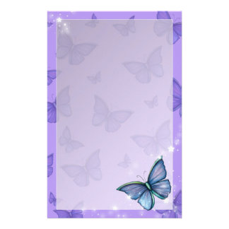 Periwinkle Blue Butterfly Fantasy Art Stationery Paper