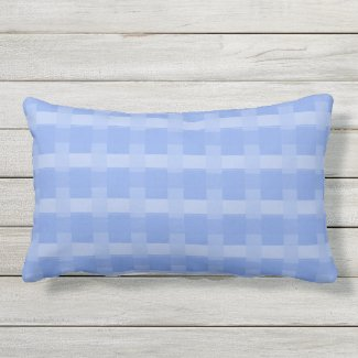 Periwinkle Blue Checks Outdoor Lumbar Pillow