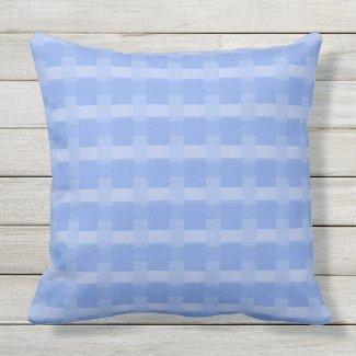 Periwinkle Blue Checks Outdoor Pillow 20x20