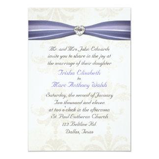 Periwinkle Blue & Cream Damask Wedding Invitation