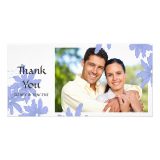 Periwinkle Blue Daisies on White Thank You Card