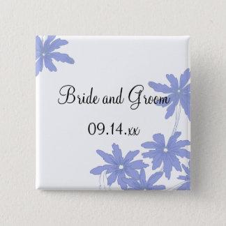 Periwinkle Blue Daisies on White Wedding Button