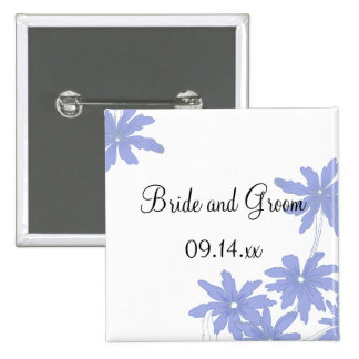 Periwinkle Blue Daisies on White Wedding Button