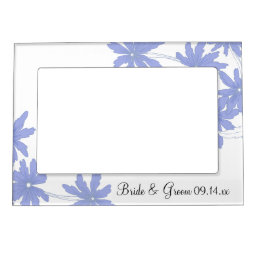 Periwinkle Blue Daisies on White Wedding Magnetic Picture Frame