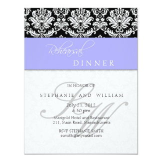 Periwinkle Blue Damask Monogram Rehearsal Dinner 4.25x5.5 Paper Invitation Card
