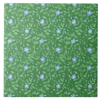 Periwinkle Blue Dark Green Country-style Floral Ceramic Tile