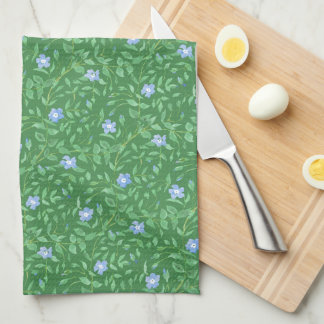 Periwinkle Blue Dark Green Country-style Floral Kitchen Towel