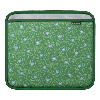 Periwinkle Blue Dark Green Country-style Floral Sleeve For iPads