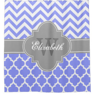 Periwinkle Blue Dk Gray Moroccan 5 Chevron 1IQRN Shower Curtain
