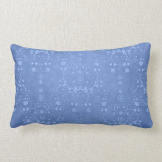 Periwinkle Blue Fancy Floral Damask Pattern Lumbar Pillow