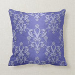 Periwinkle Blue Fancy Floral Damask Pattern Throw Pillow