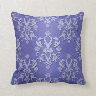 Periwinkle Blue Fancy Fl Damask Pattern Throw Pillow