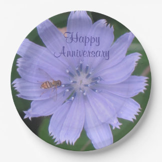 Periwinkle Blue Floral Anniversary Paper Plate