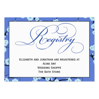 Periwinkle Blue Floral Registry Card Pack Of Chubby Business Cards