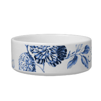 Periwinkle Blue Floral Toile Customize Pet Name Bowl
