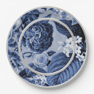 Periwinkle Blue Floral Toile No.1 Paper Plate