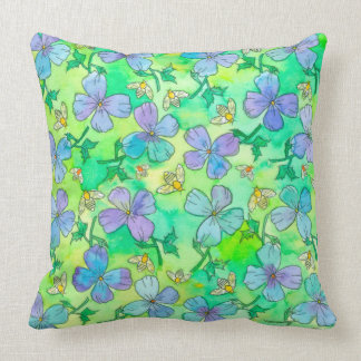 Periwinkle Blue Flowers Bees Throw Pillow