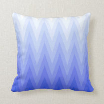 Periwinkle Blue Gradient Ombre Chevron Pattern Throw Pillow