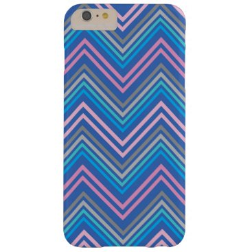Periwinkle Blue Pink and Gray Chevron Pattern Barely There iPhone 6 Plus Case