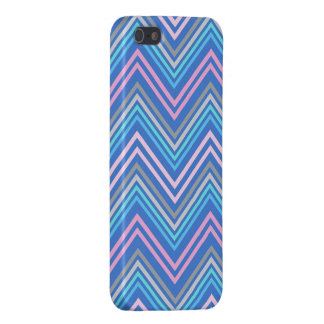 Periwinkle Blue Pink and Gray Chevron Pattern iPhone 5/5S Covers
