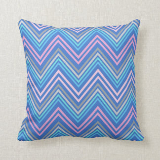 Periwinkle Blue Pink & Gray Chevron Pattern Throw Pillow