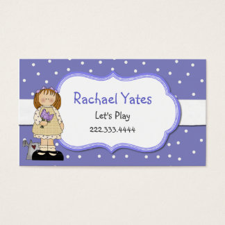 Periwinkle Blue Polka Dot Girl's Play Date Card