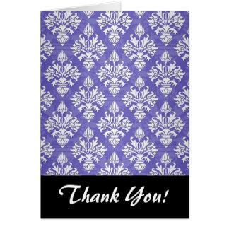 Periwinkle Blue Purple Artichoke Damask Pattern Card