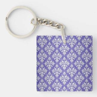 Periwinkle Blue Purple Artichoke Damask Pattern Keychain