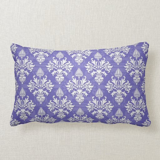 Blue Purple Throw Pillows : Periwinkle Blue Purple Artichoke Damask Pattern Throw Pillows Zazzle