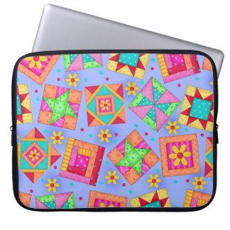 Periwinkle Blue Quilt Block Art Laptop Sleeve