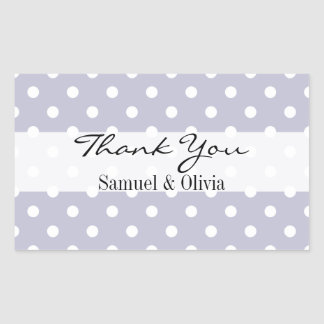 Periwinkle Blue Rectangle Polka Dotted Thank You Rectangular Sticker