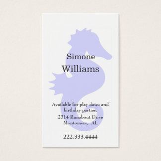 Periwinkle Blue Sea Horse Child's Calling Card