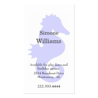 Periwinkle Blue Sea Horse Child's Calling Card Double-Sided Standard Business Cards (Pack Of 100)