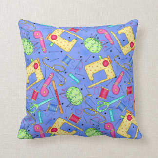 Periwinkle Blue Sewing Notions Decorative Pillow