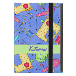 Periwinkle Blue Sewing Notions Name Personalize iPad Mini Case