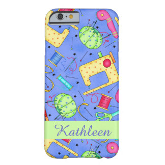 Periwinkle Blue Sewing Notions Name Personalized Barely There iPhone 6 Case