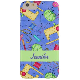 Periwinkle Blue Sewing Notions Name Personalized Barely There iPhone 6 Plus Case