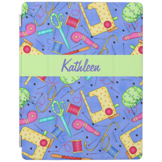 Periwinkle Blue Sewing Notions Name Personalized iPad Cover