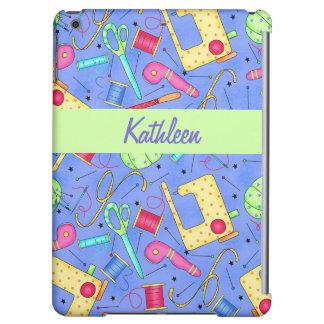 Periwinkle Blue Sewing Notions Name Personalized iPad Air Cover