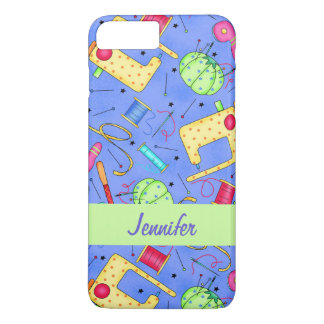 Periwinkle Blue Sewing Notions Name Personalized iPhone 7 Plus Case